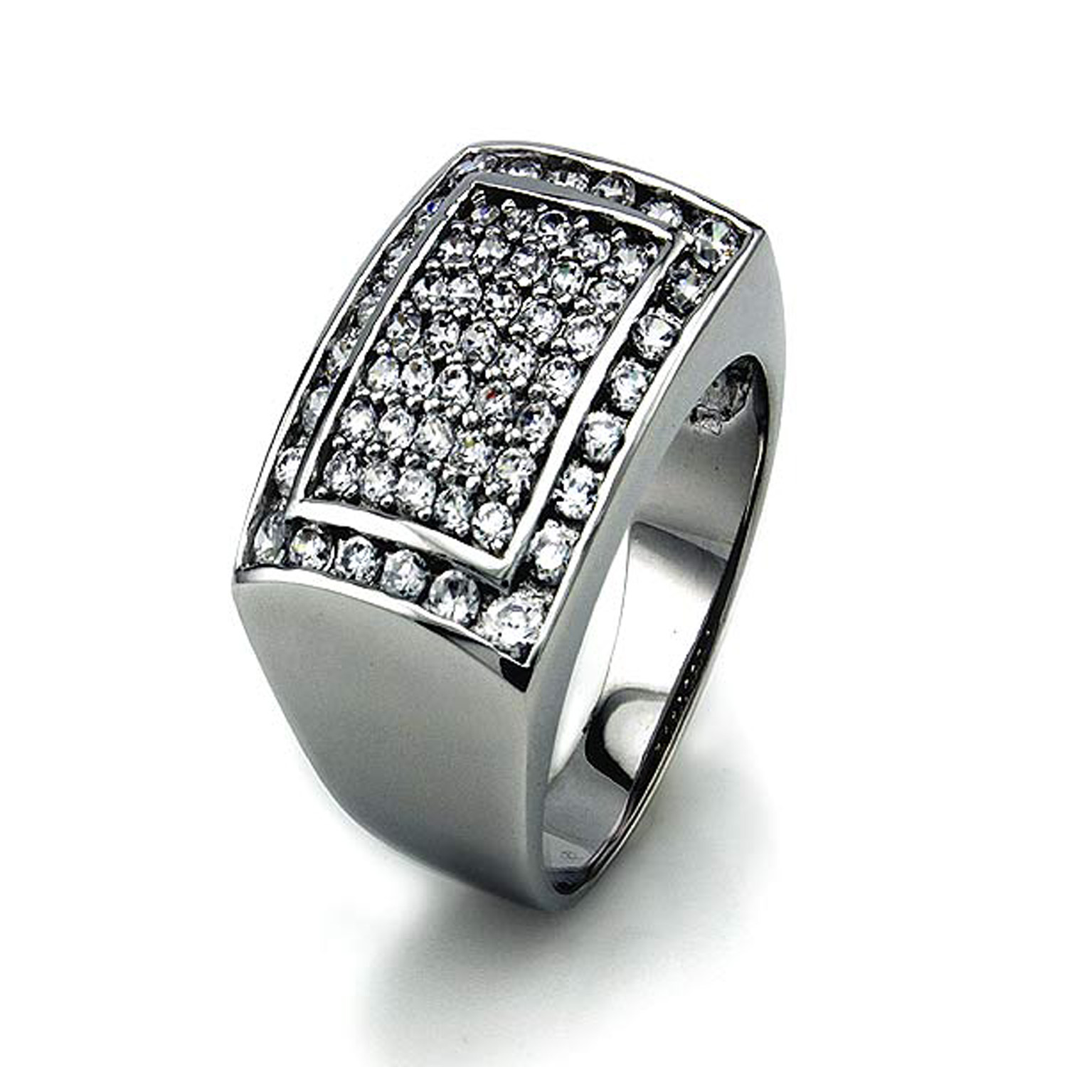 STERLING SILVER Pave-Set Cubic Zirconia Bulky Ring